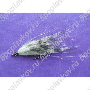 Искусственная приманка муха-стример ST-08 бело-черная полосатая