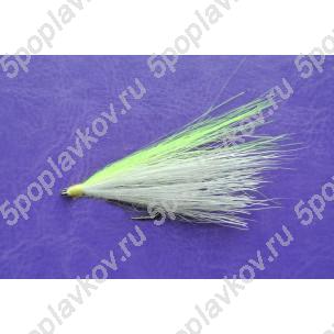 Искусственная приманка муха-стример ST-08 белый+желтый