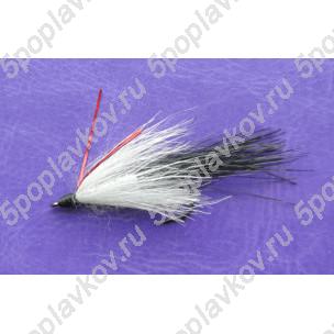 Искусственная приманка муха-стример ST-08 бело-черная, серебряное тело