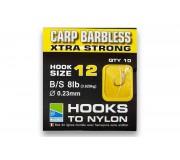 Поводки Preston Carp Barbless Extra Strong Hooks To Nylon