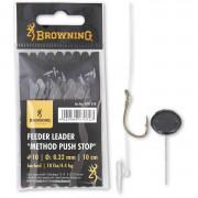 Крючки с поводками Browning Leader Feeder Method Push Stop с фиксатором для насадки (игла в комплекте)